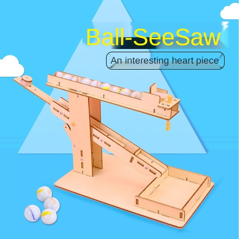 Marble Run Seesaw Steam Mechanical Gear DIY Wooden Model Building Kits Assembly Toy Gift for Children Adult Dropship