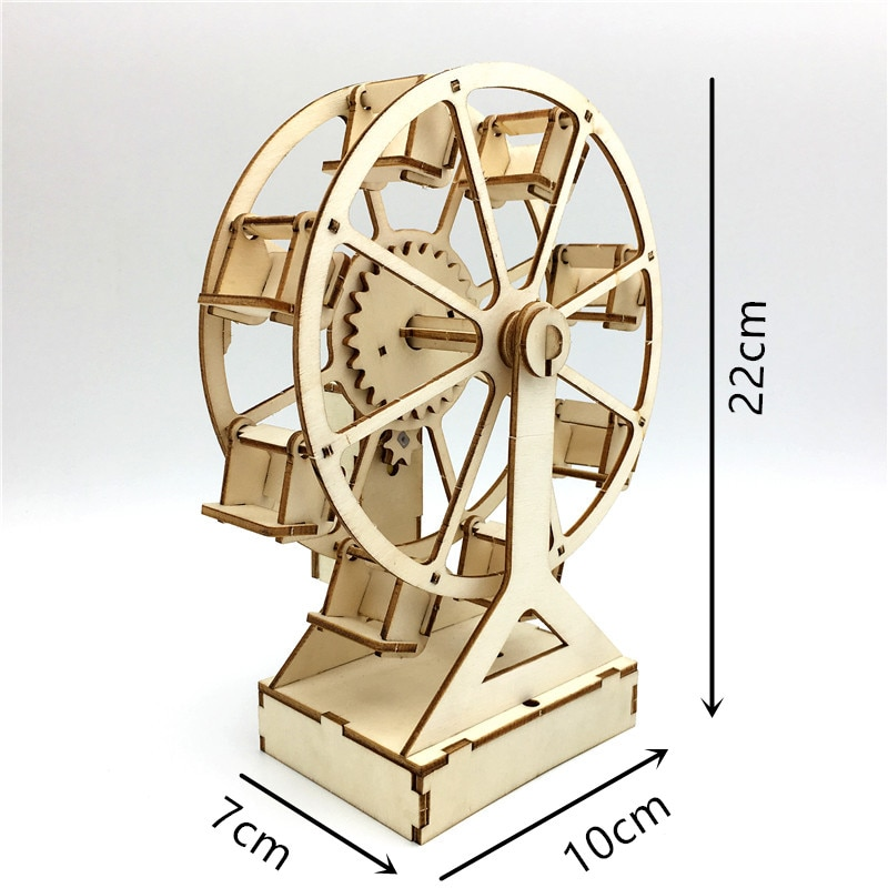 3D DIY Electric Craft Ferris Wheel Puzzle Wooden Model Engineering Building Kits Science Educational Toys For Children Kids